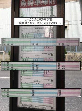 魚崎車庫前のバス時刻表。すぐには来ないので30分以上の待ち時間・・・