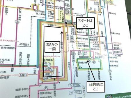 市バスの路線図。まさかの一周でスタート地点に戻る。