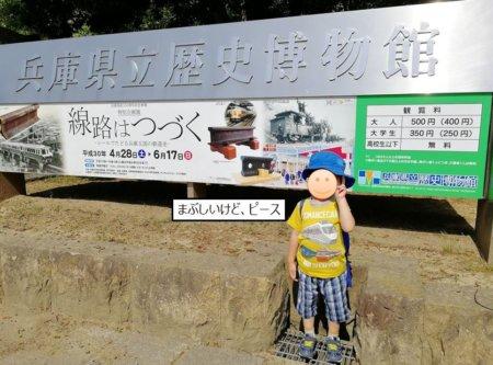 県立歴史博物館の看板前で記念撮影