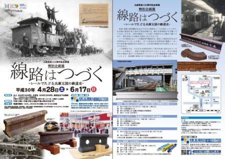 兵庫県立歴史博物館 特別企画展 「線路はつづく―レールでたどる兵庫五国の鉄道史―」のチラシです