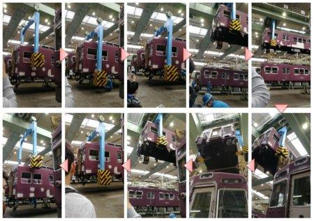 35tクレーンが阪急電車を持ち上げて、水平移動でほんとに頭の上を通って行きました。迫力満点ですね。
