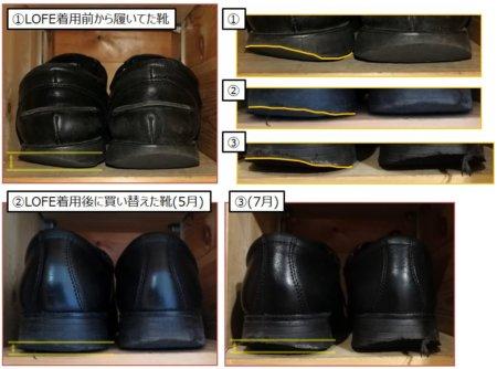 LOFE履き始める前、後の靴