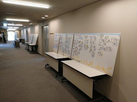 描き終わったグラフィックは廊下の机に並べてました。