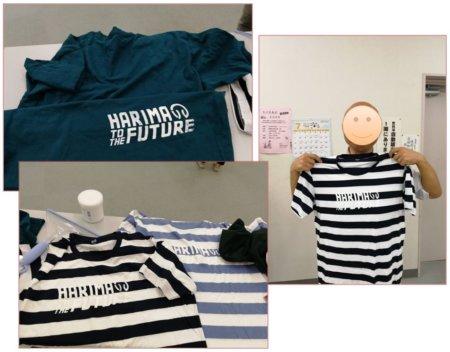 サンプルTシャツと記念撮影