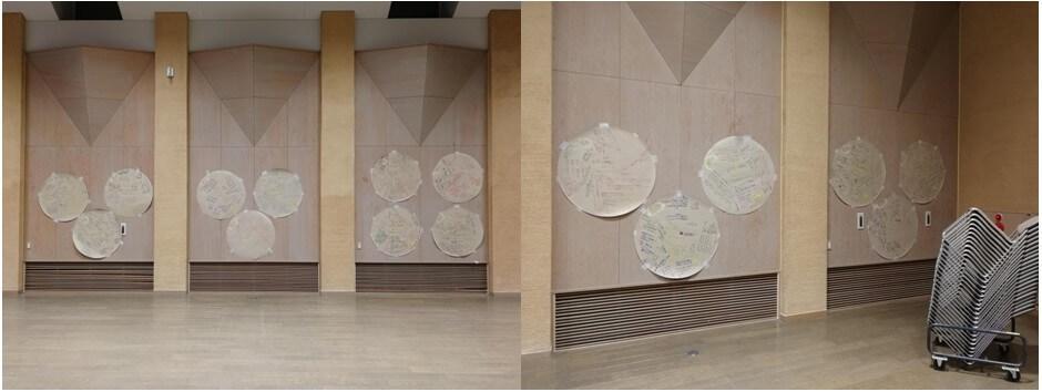 描き終わったえんたくんは壁に貼り出しました