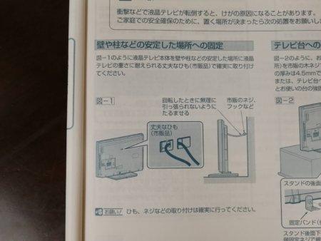 液晶テレビの裏側にあった固定用の穴